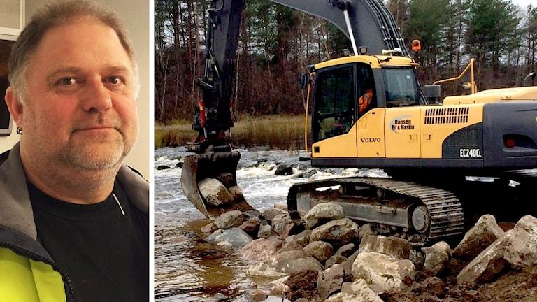 Micael Carlsson, Maskinentreprenörerna och grävmaskin.