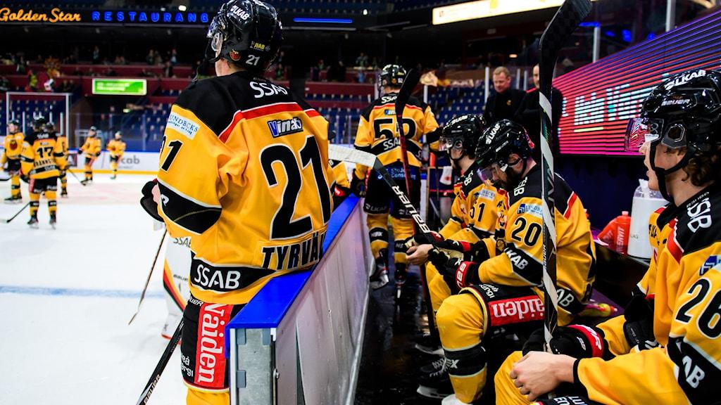 Luleås spelare deppar efter förlusten i ishockeymatchen i SHL mellan Färjestad och Luleå den 18 februari 2021 i Karlstad.