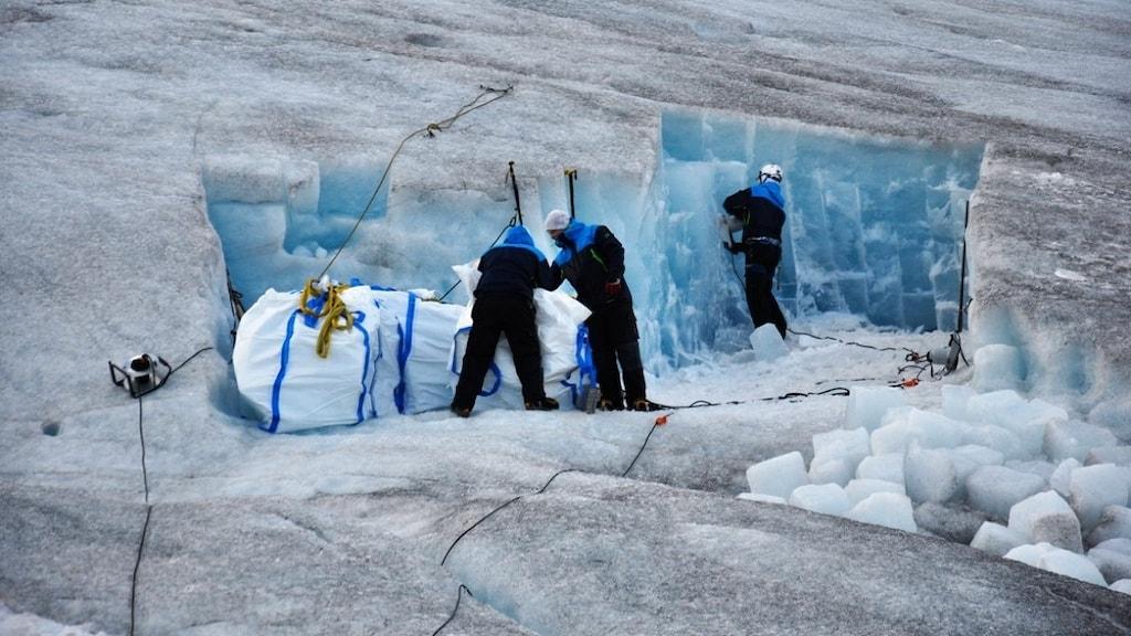 Tre personer i mörka overaller och vita hjälmar bryter is i en stor glaciär.