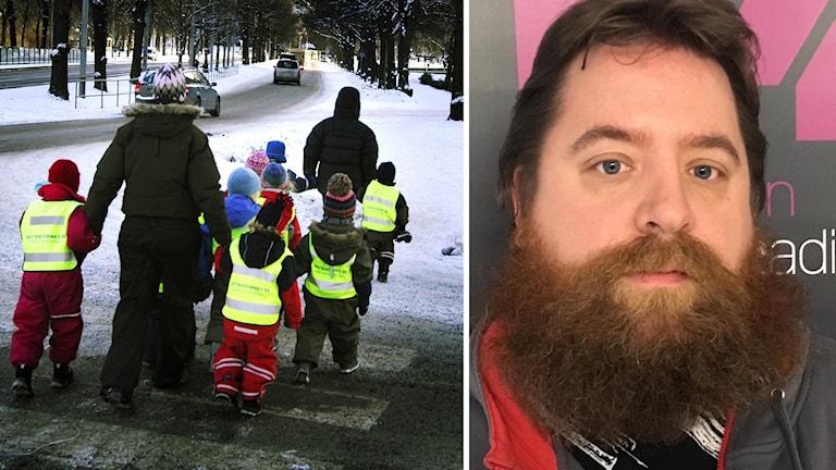 Förskolebarn ute på promenad och barnskötaren Tobias Skogsberg.