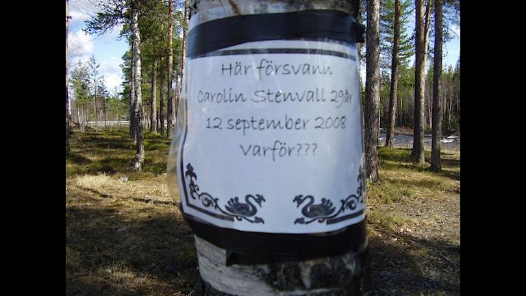 Minnesplats för Carolin Stenvall vid Stenbron utanför Gällivare. Foto: Maritha Mossberg