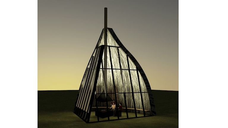 MAF arkitektkontors illustration som visar möjlig utformning av kåtan.