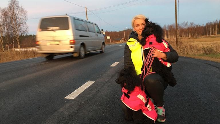 Erica Iseby vid vägkanten med två pudlar i famnan. Alla har reflexväst. En bil passerar.