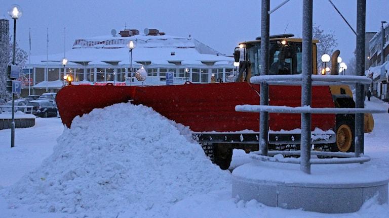 Snöplogning i Kiruna.