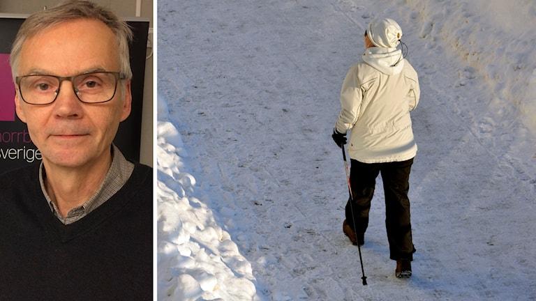 Professor Anders Ågren och kvinna som går stavgång i vinterväglag.