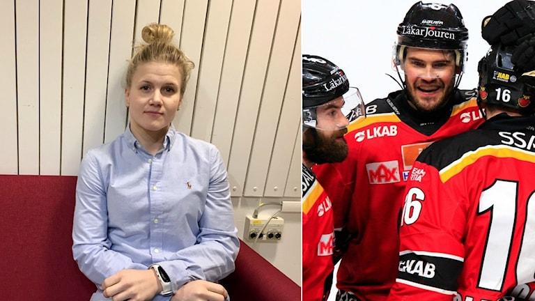 Johanna Fällman är landslagsspelare och tillhör Luleå Hockey/MSSK. Luleå Hockeys Karl Fabricius jublar med sina lagkamrater.