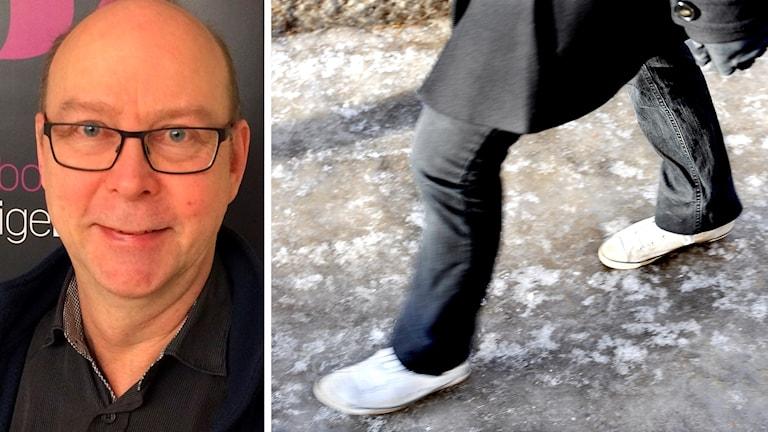 Halkforskaren Glenn Berggård och person som går på halt underlag.