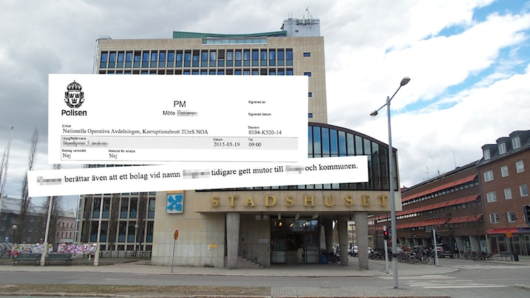 Kommunhuset i Luleå med citat från polisens minnesanteckning.