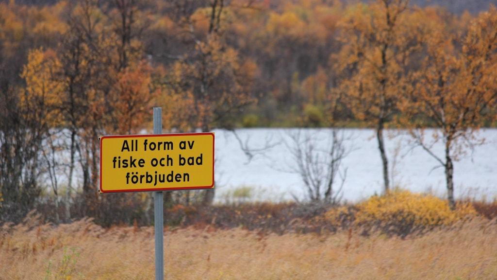 Skylt som varnar för bad och fiske i den förorenade sjön Ala Lombolo i Kiruna.
