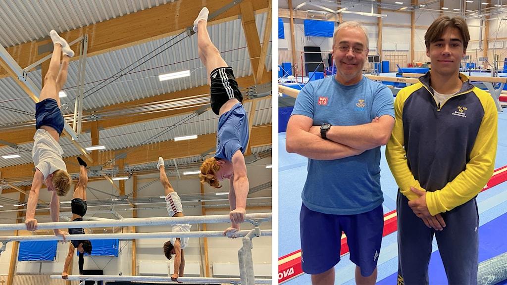 SM i artistisk gymnastik i Luleå 2021: Tränaren Lars Stenberg och Marcus Stenberg vid Lulegymnasterna.
