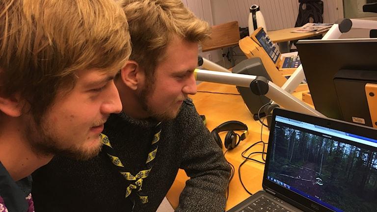 Aron Widforss och Tobias Skarhed tittar på datorskärm.