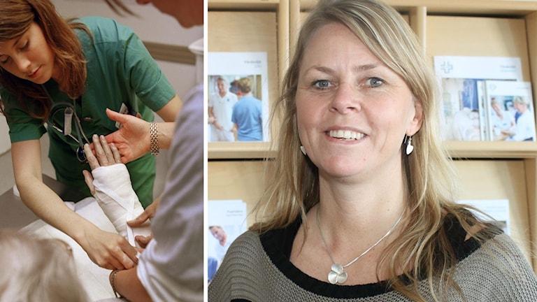 Erica Ohlsson, ordförande för Vårdförbundet i Norrbotten och sjuksköterska som lägger om bandage.