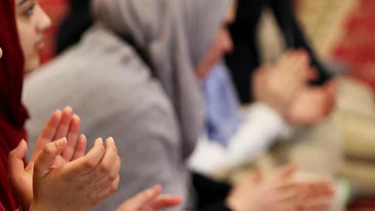 Muslimska kvinnor som ber.