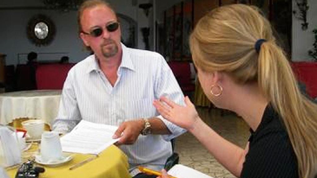 Bo Johansson och Anna Jaktén under intervjun på Sicilien 2008.