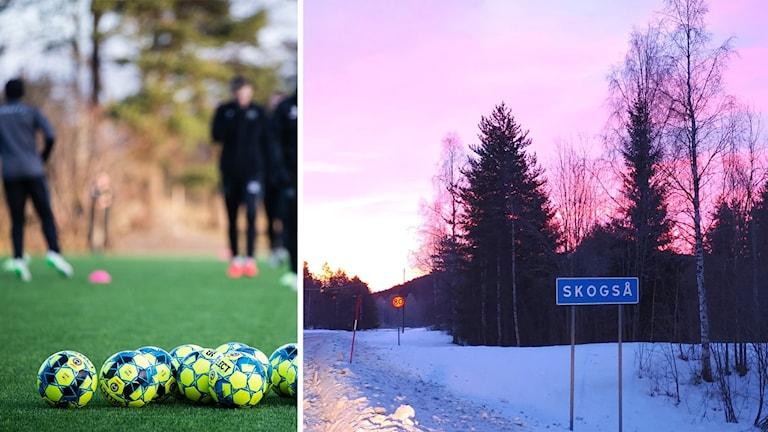 Till vänster en bild på några fotbollar i förgrunden av en fotbollsträning. till höger en ortsskylt där det står skogså.