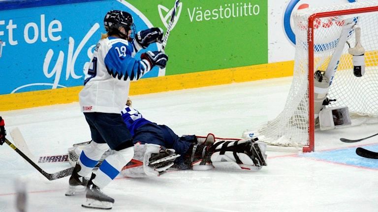 Finlands bortdömda mål i ishockey-VM-finalen mot USA 2019.