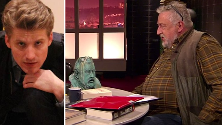 Stellan Rutstam och Leif GW Persson med bysten av honom själv i Veckans brott-studion.