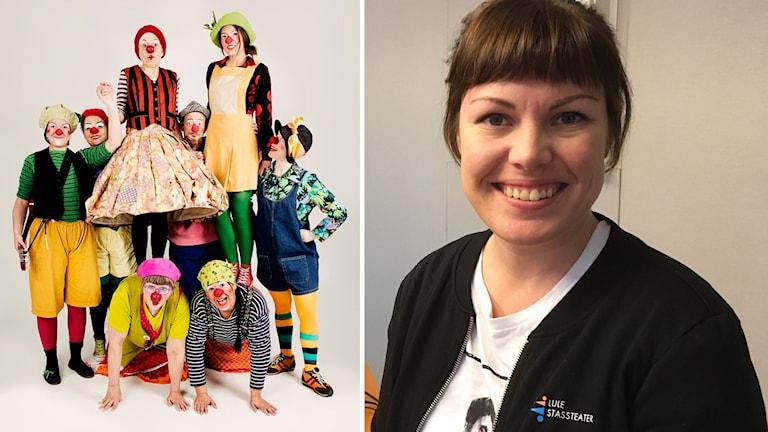 Sjukhusclownerna från Lule Stassteater och clowngeneralen Madeleine Johansson.