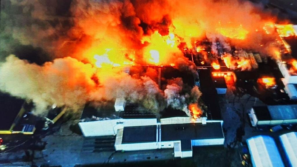 Räddningstjänstens drönarbild över branden vid Polarbröd i Älvsbyn.