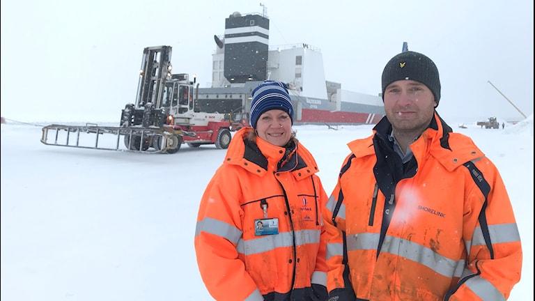 Ulrika Nilsson, vd för Piteå hamn och Anders Eriksson, logistiksamordnare vid Shorelink.