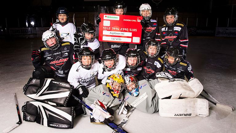 Asplövens hockeyungdomar får pengar genom Svenska spels Gräsroten.