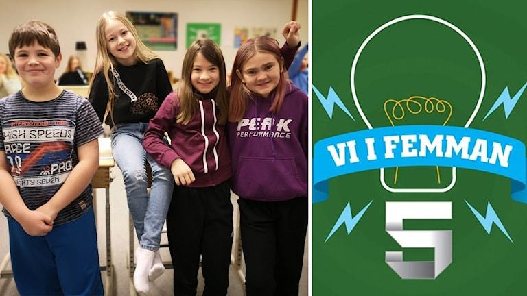 Thorben, Emilia, Julia och Fanny i klass 5 på Rosviks skola i Piteå ska delta i Vi i femman 2020.