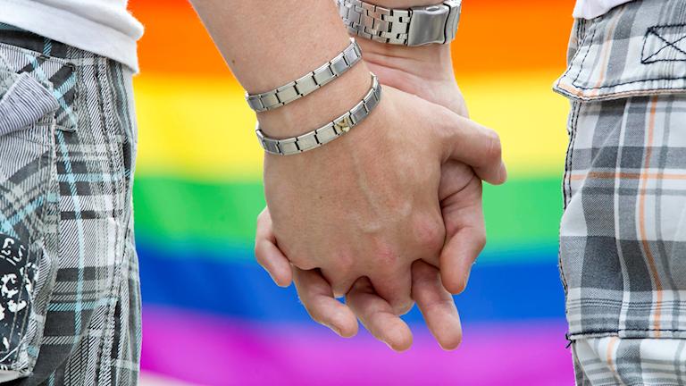 Två personer håller hand framför en regnbågsflagga