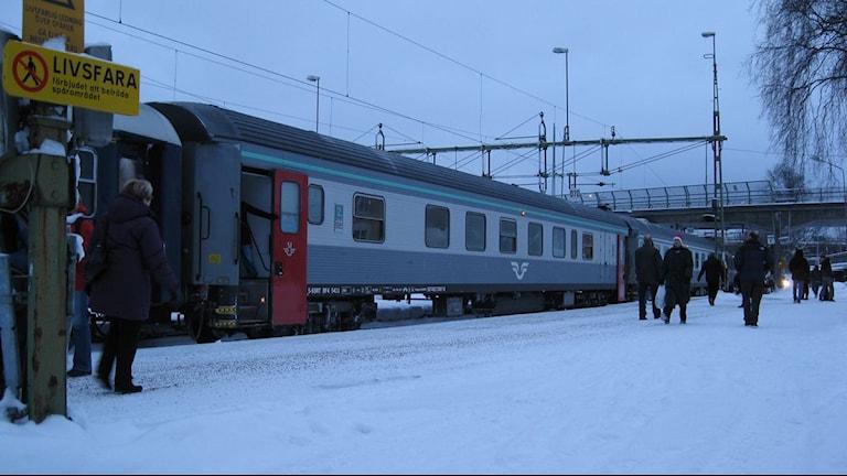 Nattåget från Stockholm kommer till Luleå.