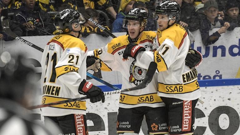 Luleå Hockey jublar efter mål mot Skellefteå.