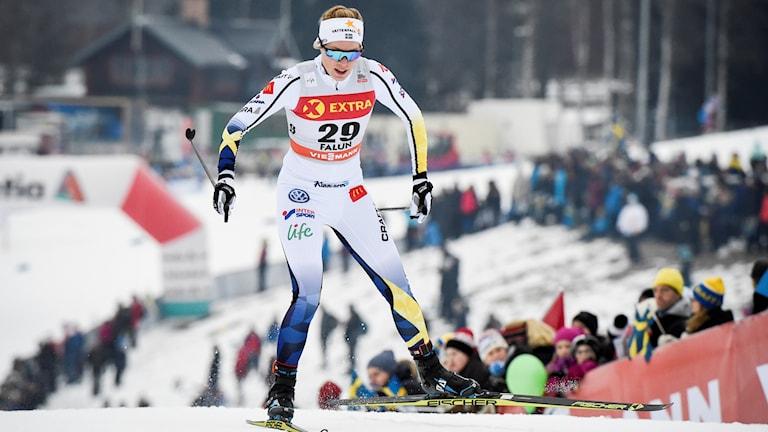 Arkivbild. Jennie Öberg åker världscupsprinten i Falun 2017.