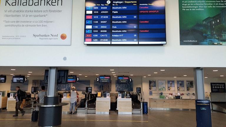 Incheckningsdiskarna på Luleå Airport.