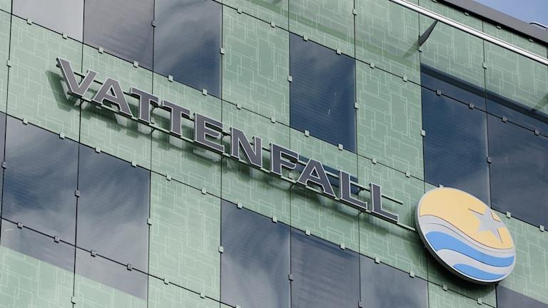 Vattenfall, logotyp på fasad, huvudkontor.