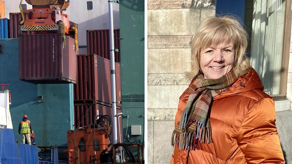 Linda nilsson i en orange täckkappa till höger och till vänster en bild på containers som lastas