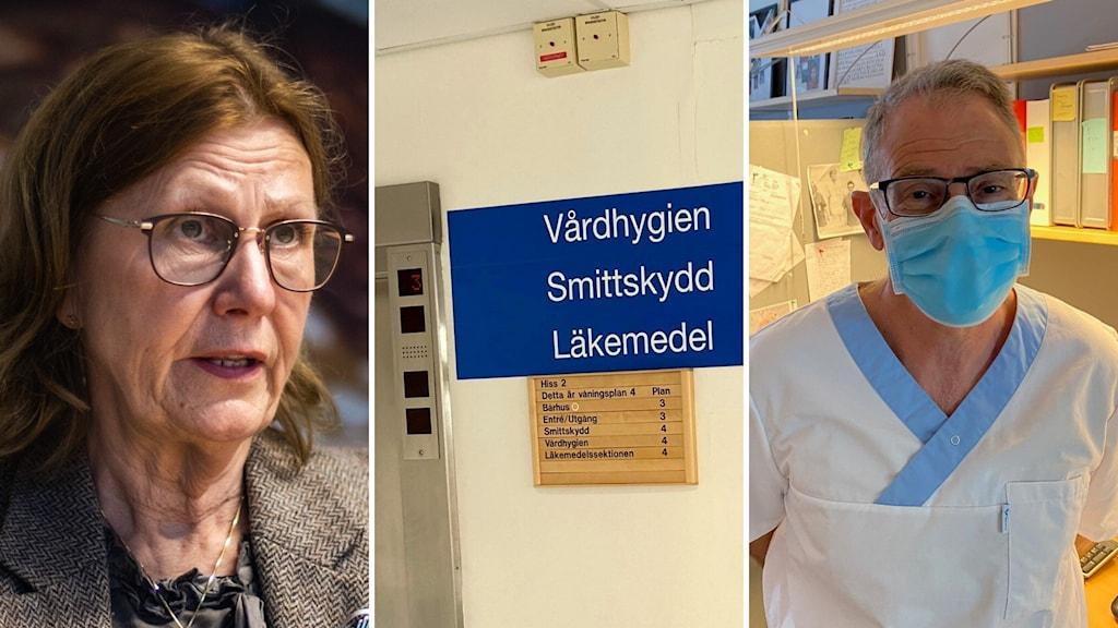en äldre kvinna med brunt hår och glasögon och kavaj och till höger en läkare, en vit man med glasögon och blå skyddslkäder