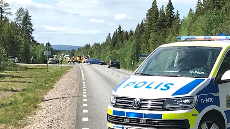 Olycksplatsen på E 45 utanför Arvidsjaur.