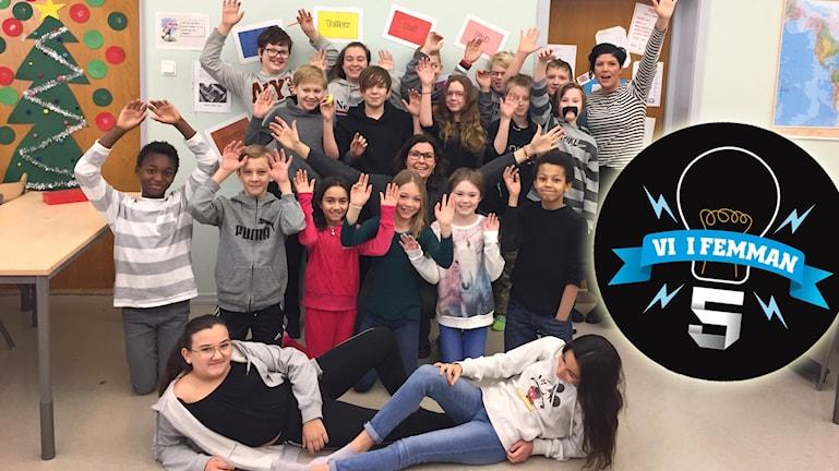 Norrskenets friskola 5A i Boden är en av klasserna i Vi i femman 2018.
