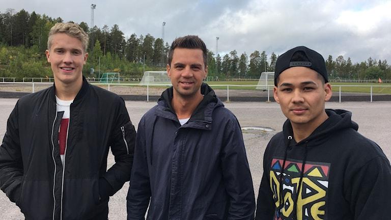 IFK Arvidsjaurs Simon Alsenhag, Patrik Nilsson och Abbas Arizada på Ringelvallen.