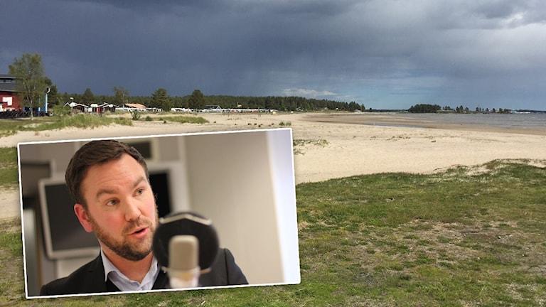 Stranden på Pite havsbad och Tobias Lindfors infälld.