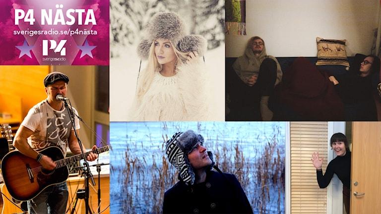 Artisterna i P4 Nästa Norrbotten 2017: Hans Taavola, Fröken Frö, Femöresvagnen, Henrik Niva, Alice Hartvig.