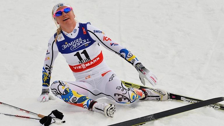 Magdalena Pajala efter VM-sprinten i Falun 2015.