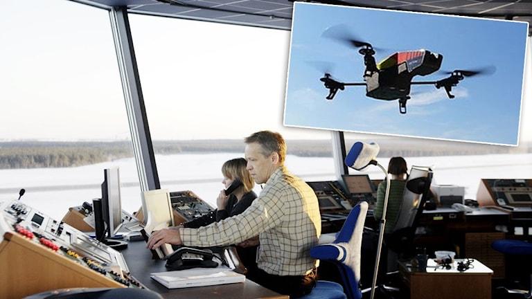Arbete i flygledartornet på Luleå airport med en drönare infälld.