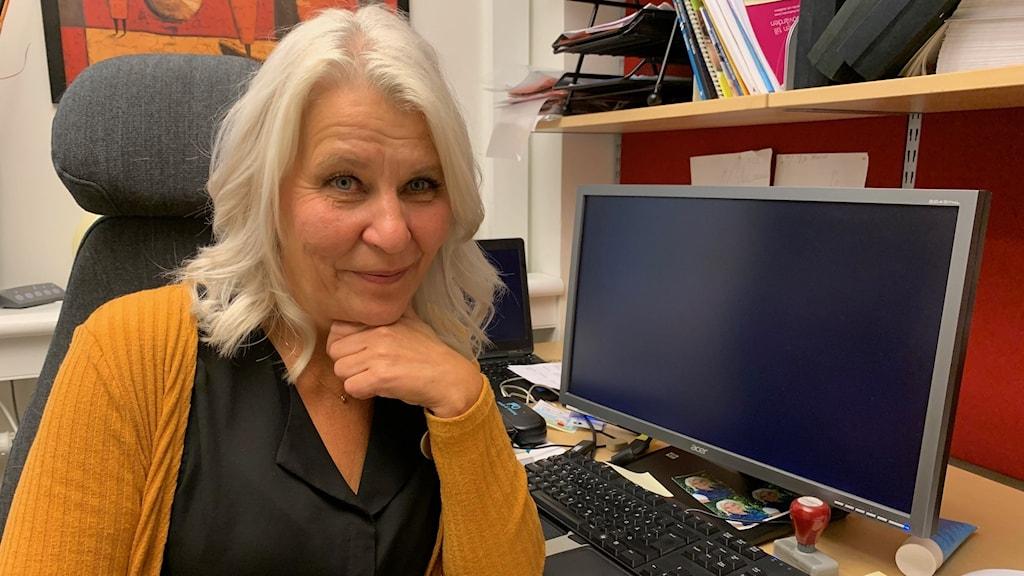 Skolsköterskan på Porsnässkolan, Marianne Rova Eriksson, som även är medicinskt ansvarig skolsköterska i Piteå kommun.