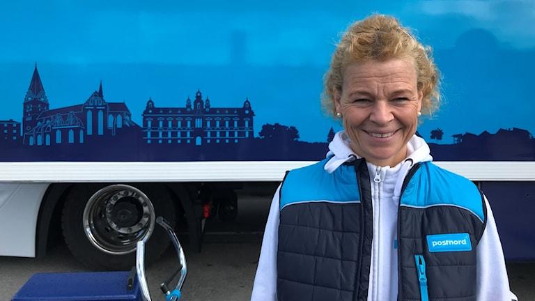 Postnords Sverigechef Annemarie Gardshol på besök i Luleå.