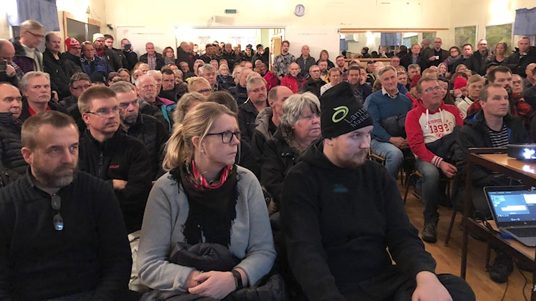 Det var fullsatt i folkets hus i Kaunisvaara när Kaunis Iron informerade om planerad gruvöppning. Foto: Kaunis Iron