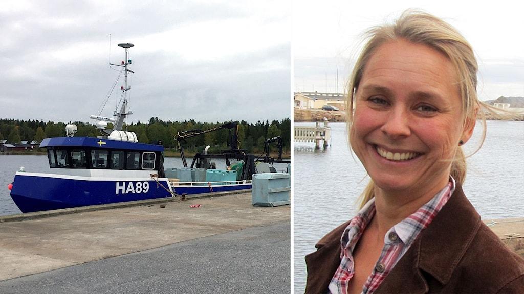 Fiskebåt vid kaj i Storön utanför Kalix och Sofia Bureborn.