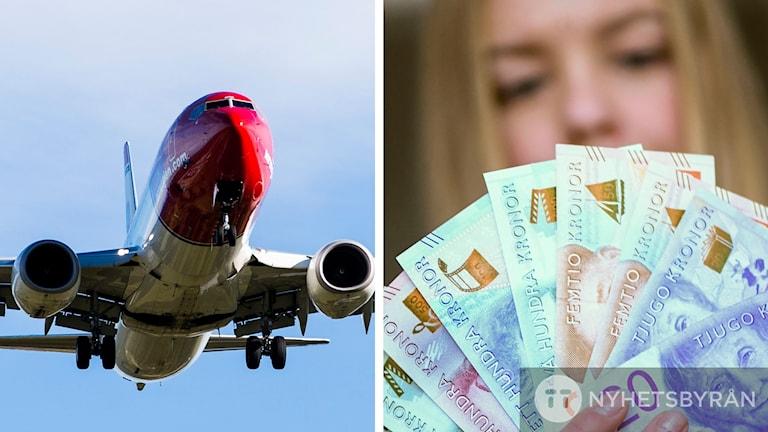 Flygplan och pengar.