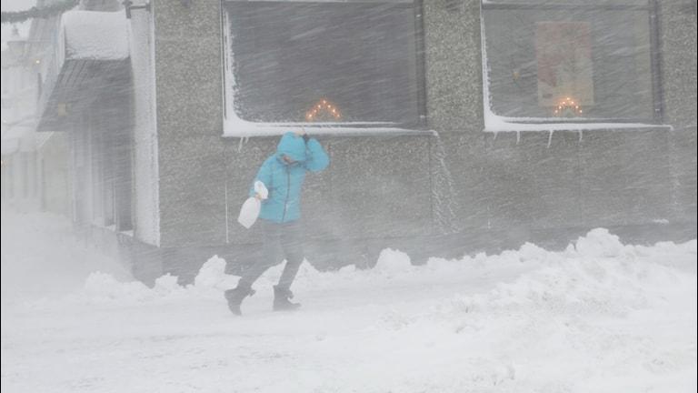 person gående i snöstorm-.