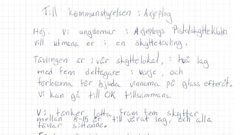Brev från Arjeplogs skytteförening