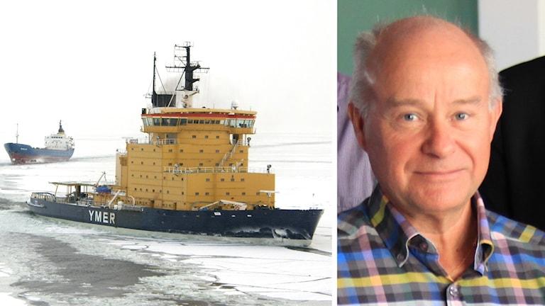 Isbrytaren Ymer på isen och en bild på Dan Broström.