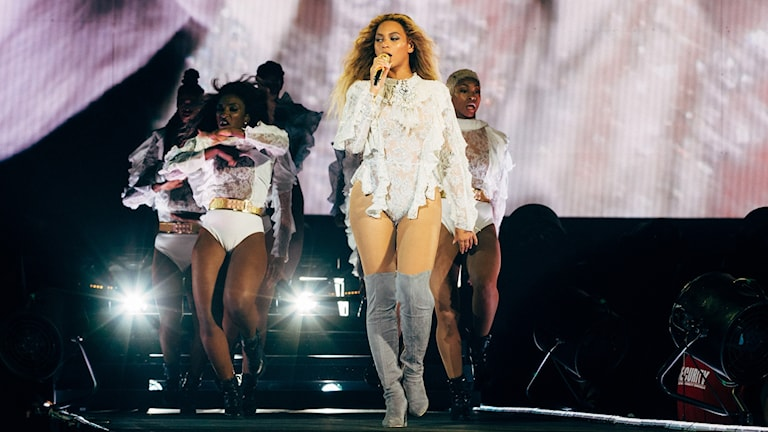 Beyonce på scenen i Friends Arena i Solna.